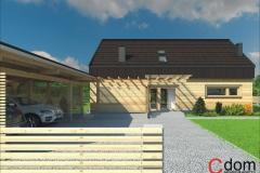 Dom z bali klejonych z dachem dwuspadowym w Otwocku