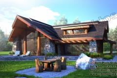 Dom z bali ciosanych Log Home