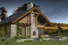 Dom z bali mały  z antresolą i kominkiem