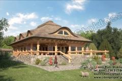 Dom z bali kryty strzechą