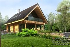 Nowoczesny dom z bali  na mazurach z dachem dwuspadowym bez podpiwniczenia 147m2
