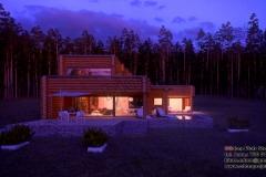 Nowoczesny dom z bali z płaskim dachem