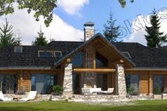 Dom z bali parterowy z poddaszem użytkowym