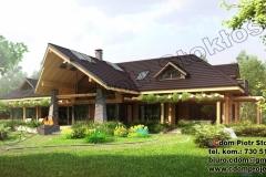 Nowoczesny dom z bali z ogrodem zimowym