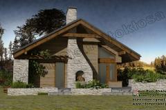 Mały dom drewniany parterowy  z antresolą i kominkiem