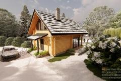Mały dom z bali 75m2 z oknem narożnym ze słupkiem