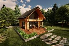 Mały dom z bali na zgłoszenie 54m2