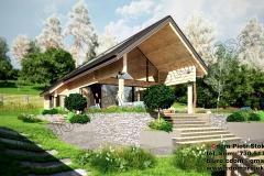 Nowoczesny dom z bali , parterowy z dachem dwuspadowym 130 m2