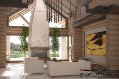 Nowoczesny dom z bali pow. użytk. 250m2 połaczony z garażem