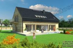 Nowoczesny dom z bali prostokątnych  z dachem dwuspadowym o pow. 150m2