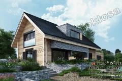 Nowoczesny dom z bali z dachem dwuspadowym i garazem połączonym 240m2