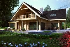 Nowoczesny dom z bali z dachem dwuspadowym i ogrodem zimowym  230 m 2