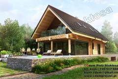 Nowoczesny dom z bali  z dachem dwuspadowym i podpiwniczeniem 230m2