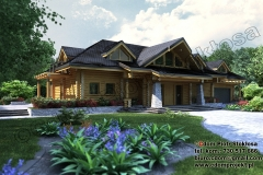 Nowoczesny dom z bali z garażem połączonym 270 m2