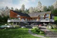 Nowoczesny dom z bali z pensjonatem 600m2