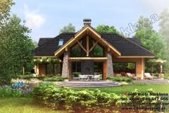 Nowoczesny dom z bali z poddaszem uzytkowym 160m2