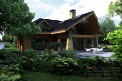 Nowoczesny dom z bali z poddaszem użytkowym 190 m2