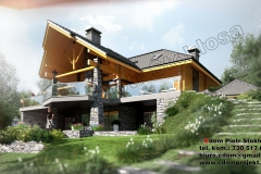 Nowoczesny dom z bali z podpiwniczeniem 260m2